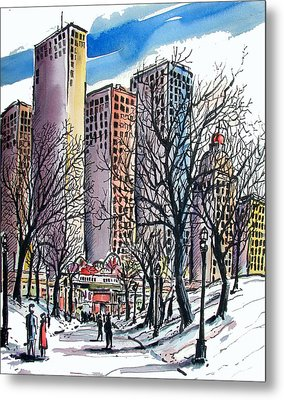 Metal Print featuring the painting Winter City by Terry Banderas