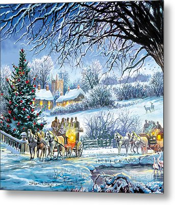 Winter Coaches Metal Print