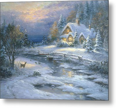 Winter Cottage Metal Print by Ghambaro
