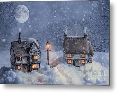 Winter Cottages In Snow Metal Print by Amanda Elwell