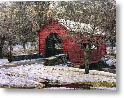 Winter Crossing In Elegance - Carroll Creek Covered Bridge - Baker Park Frederick Maryland Metal Print by Michael Mazaika