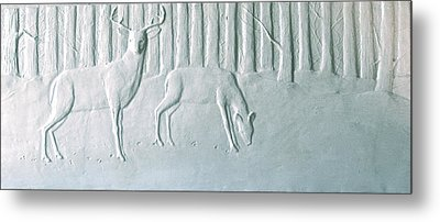 Winter Stag And Deer Metal Print by Deborah Dendler