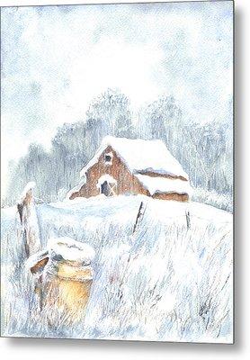 Winter Down On The Farm Metal Print by Carol Wisniewski