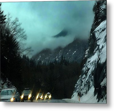 Winter Drive In The Coast Mountains Metal Print