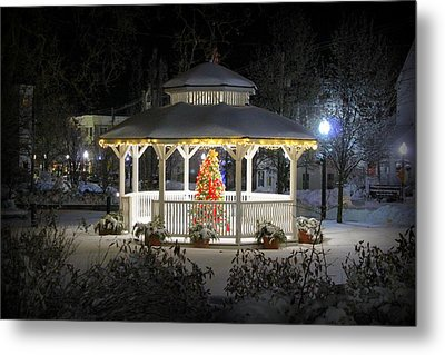 Winter Evening Gazebo Metal Print