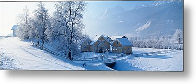Winter Farm Austria Metal Print by Panoramic Images
