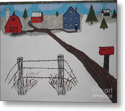 Metal Print featuring the painting Winter Farm by Jeffrey Koss
