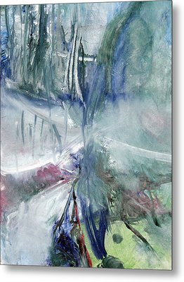 Metal Print featuring the painting Winter Forest Painting by John Fish