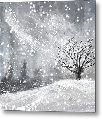Winter- Four Seasons Painting Metal Print by Lourry Legarde