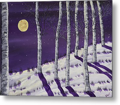 Winter Full Moon And Birch Trees  Painting Metal Print by Keith Webber Jr