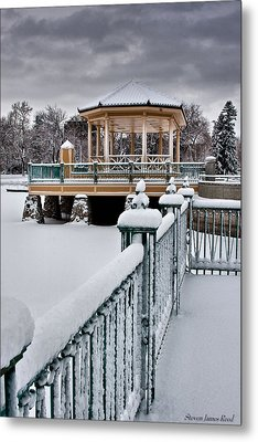 Metal Print featuring the photograph Winter Gazebo by Steven Reed