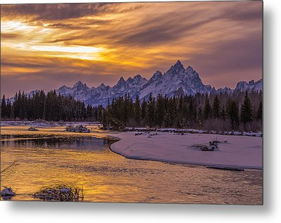 Winter Glow Over The Tetons Metal Print by Yeates Photography