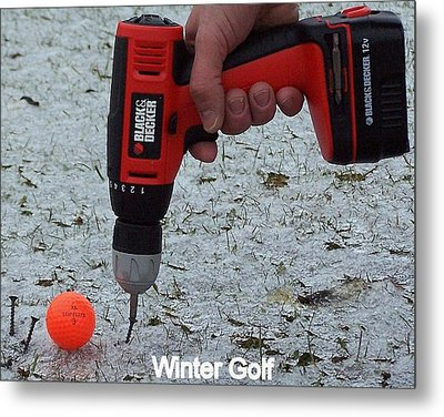 Winter Golf Metal Print by Frozen in Time Fine Art Photography