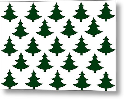 Winter Green Christmas Tree Metal Print by Chastity Hoff