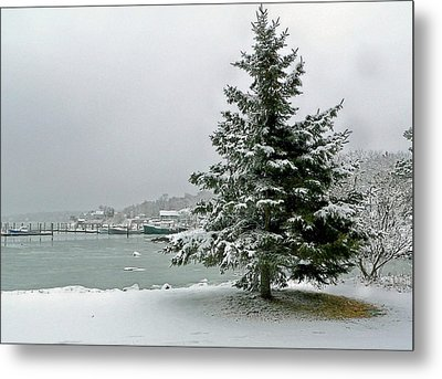 Metal Print featuring the photograph Winter Harbor Scene by Janice Drew