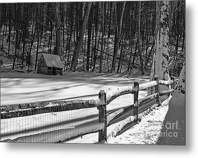 Winter Hut In Black And White Metal Print by Paul Ward