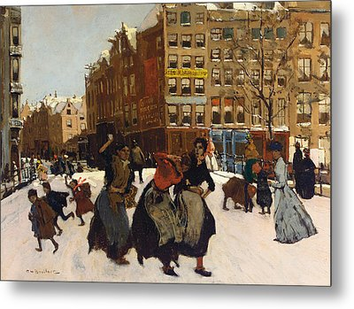 Winter In Amsterdam Metal Print by Georg Hendrik Breitner