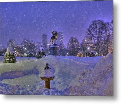 Winter In Boston - George Washington Monument - Boston Public Garden Metal Print by Joann Vitali