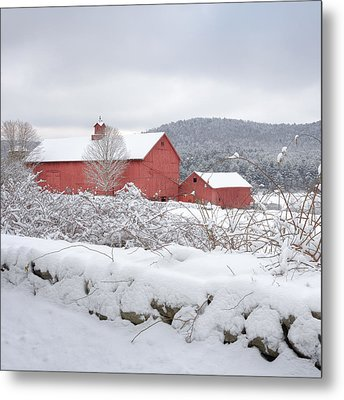 Winter In Connecticut Square Metal Print by Bill Wakeley