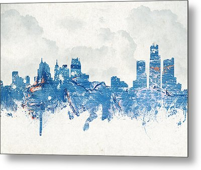 Winter In Detroit Michigan Usa Metal Print by Aged Pixel