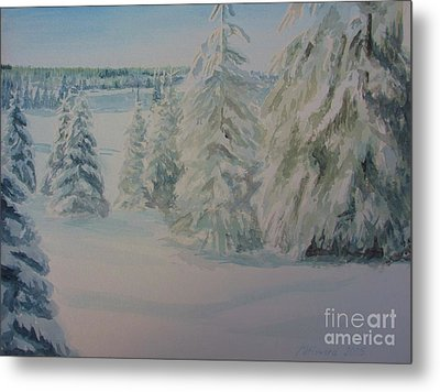 Metal Print featuring the painting Winter In Gyllbergen by Martin Howard