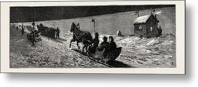Winter In Russia The Road Across The Ice Between Cronstadt Metal Print