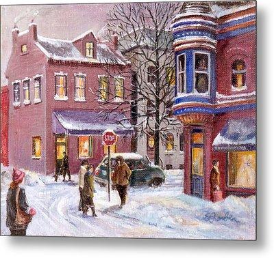 Winter In Soulard Metal Print by Edward Farber