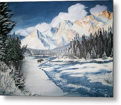 Metal Print featuring the painting Winter In The Canadian Rockies by Sharon Duguay