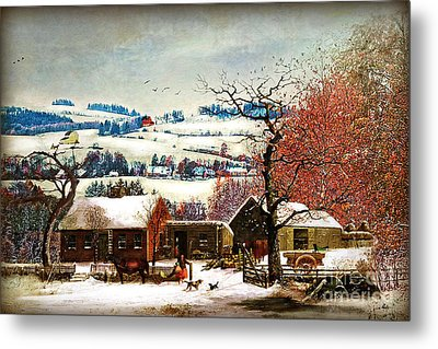 Metal Print featuring the digital art Winter In The Country Folk Art by Lianne Schneider