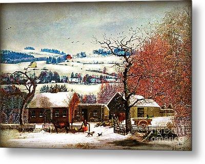 Winter In The Country Folk Art Metal Print