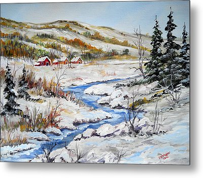 Winter In The Village Metal Print by Dorothy Maier