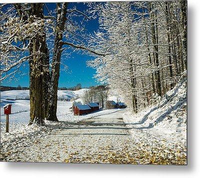 Winter In Vermont Metal Print by Edward Fielding