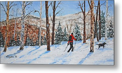 Winter In Vermont Woods Metal Print by Stanton Allaben
