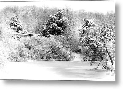 Winter Landscape Black And White Metal Print
