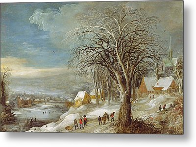 Winter Landscape Metal Print by Joos or Josse de The Younger Momper