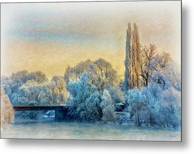 Winter Landscape With A Bridge Over The River Metal Print by Gynt