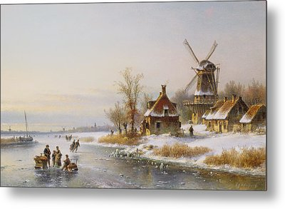 Winter Landscape With A Windmill, 19th Century Metal Print