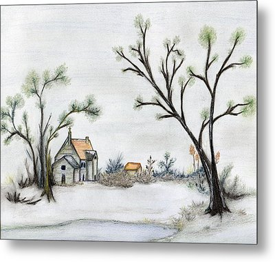 Winter Landscape With Cottage Metal Print by Christine Corretti
