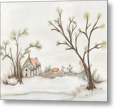 Winter Landscape With Cottage II Metal Print by Christine Corretti