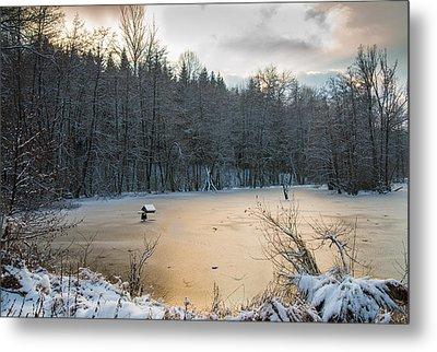 Winter Landscape With Frozen Lake And Warm Evening Twilight Metal Print by Matthias Hauser