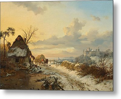 Winter Landscape With Horses And Carts Metal Print by Celestial Images