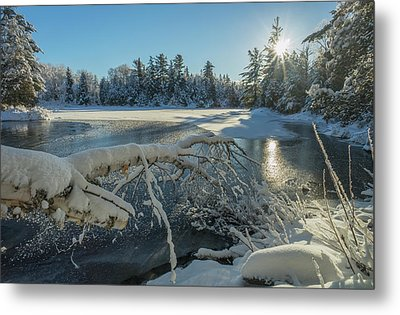 Winter Landscape With Ice On A Lake Metal Print by Julie DeRoche