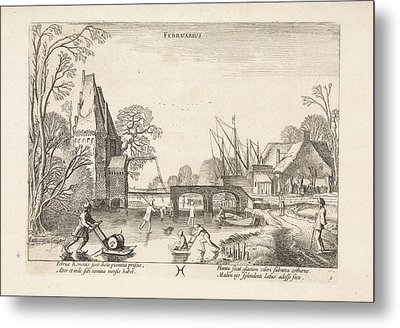 Winter Landscape With Skaters And Figures With Sleds Metal Print