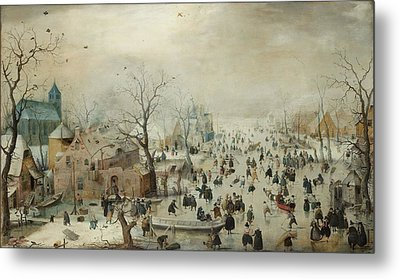 Winter Landscape With Skaters Metal Print by Hendrik Avercamp