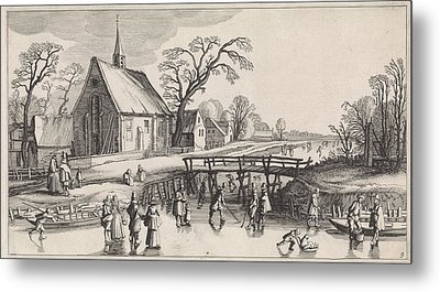 Winter Landscape With Skaters Near A Village Metal Print
