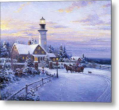 Winter Lighthouse Metal Print by Ghambaro