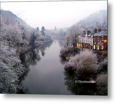 Winter Lights In Ironbridge Metal Print