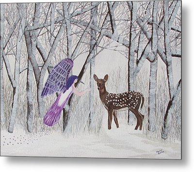 Metal Print featuring the painting Winter Magic by Cheryl Bailey
