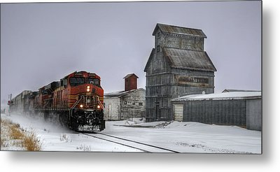 Winter Mixed Freight Through Castle Rock Metal Print by Ken Smith