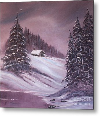 Metal Print featuring the painting Winter Moon by Janice Rae Pariza